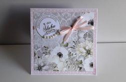 Kartka ślubna kwiaty kokardka