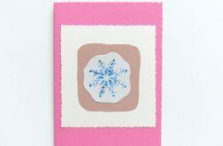 Ręcznie robiona kartka  płatek śniegu  37