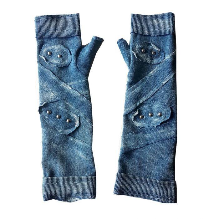 Rękawiczki niebieskie, ćwieki - rękawiczki z ćwiekami