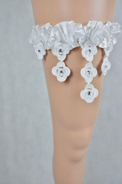 Podwiązka ślubna biała z cyrkoniami