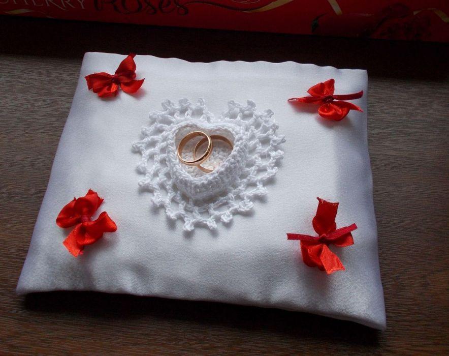 Poduszka na obrączki z serduszkiem - poduszka serce