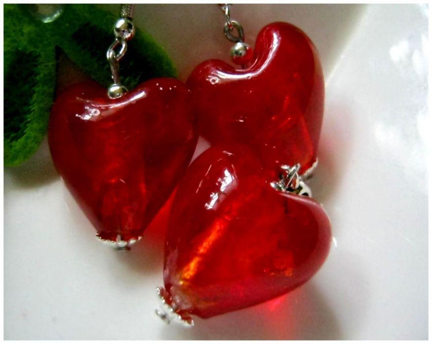 Czerwone serca, szkło weneckie, uroczy zestaw