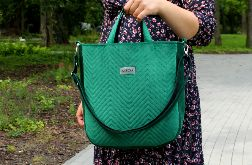 Duża torebka damska Aurora - zielony welur
