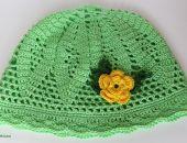 Zielona ażurowa czapka