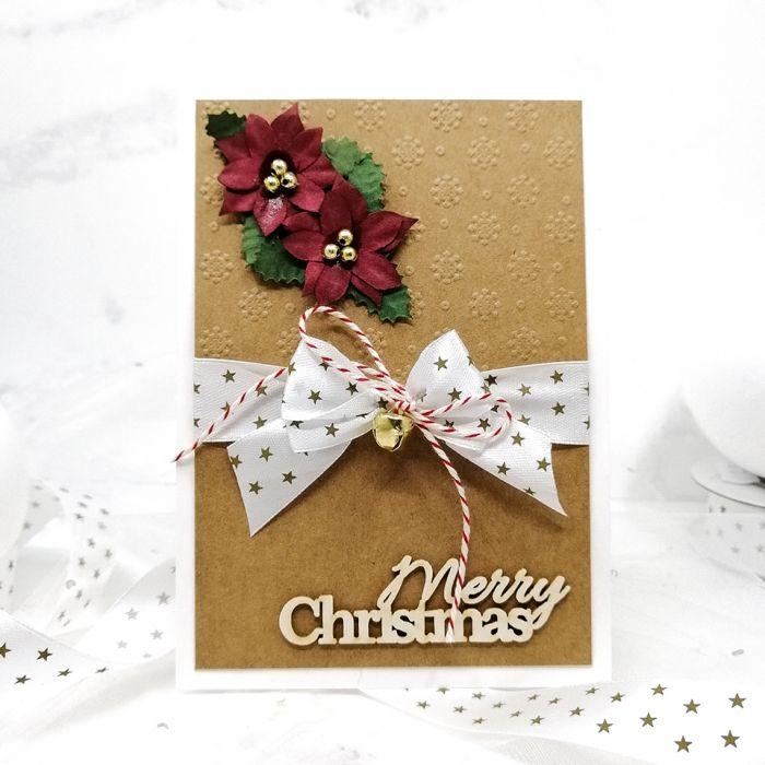 Kartka świąteczna eko wstążka kwiaty BNR 026 - Kartka na boże narodzenie eko prosta ze wstążką i kwiatami (3)