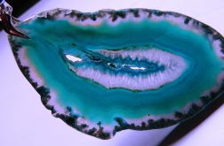 Morski, niebieski agat z kryształem i druzą,