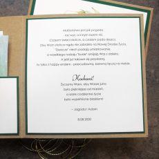Kartka na ślub Eko zielona złoty sznurek