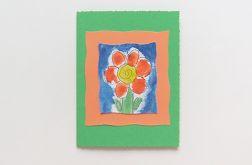 Kartka zielona z kwiatkiem nr 26