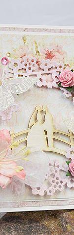 Kartka ślubna z parą na mostku