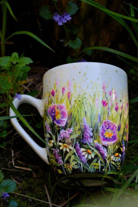 kubek ręcznie malowany, kwiaty dla mamy