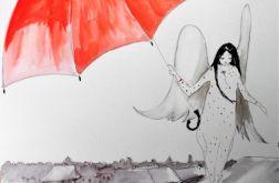 """Praca """"Anioł z parasolem"""" artystki A. Laube"""