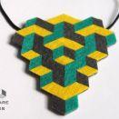 Geometryczny zielono-żółty naszyjnik z filcu