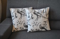 Poszewka  dekoracyjna - czarne ptaki i pnącza