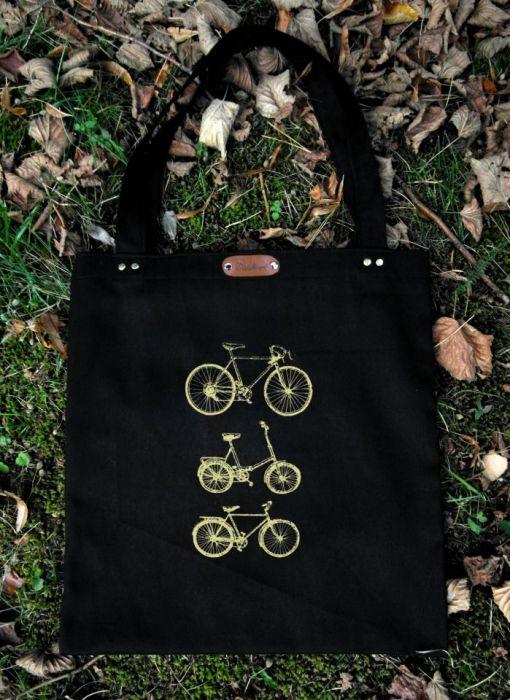 Rowery - czarna torba bawełniana