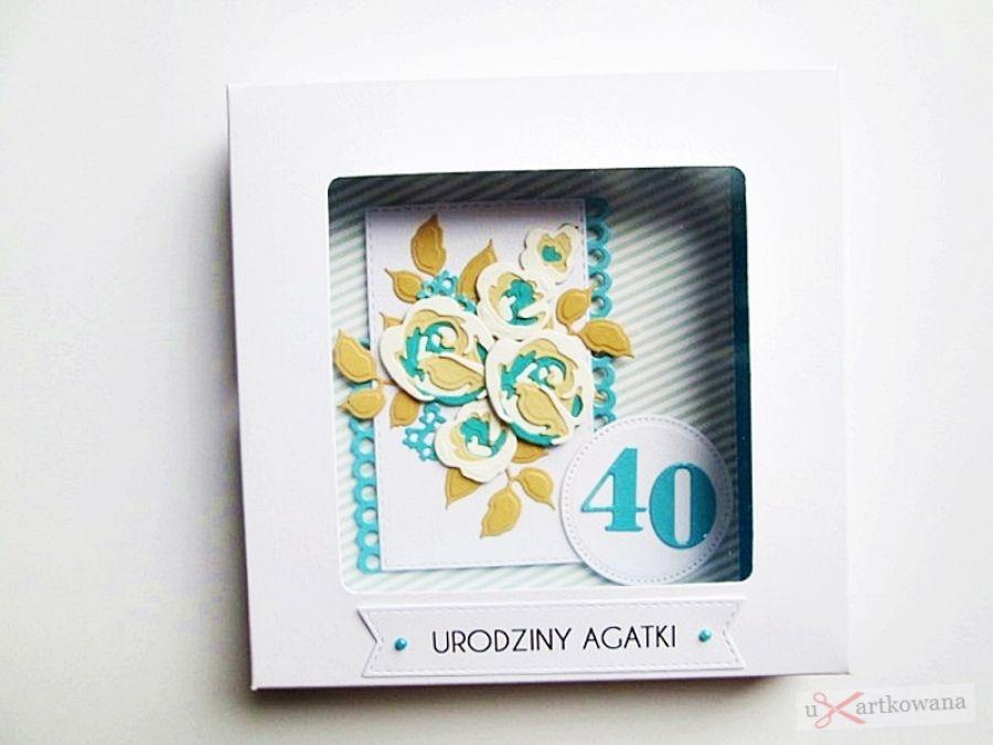 Kartka NA URODZINY beżowo-turkusowe róże - Urodzinowa kartka z warstwowymi różami