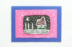 Kartka zimowa - zaśnieżony domek nr 1