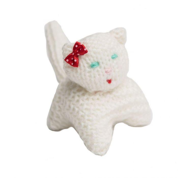 Kotek z kokardką biały