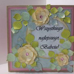 Kartka dla babci - kremowe kwiatki (1)