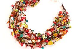 5011 naszyjnik kolia kolorowy jesienny