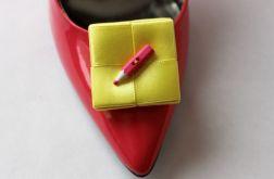 Klipsy - spinki do butów  Kredki żółto-różowe