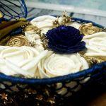 Granatowo złote pudełeczko na obrączki