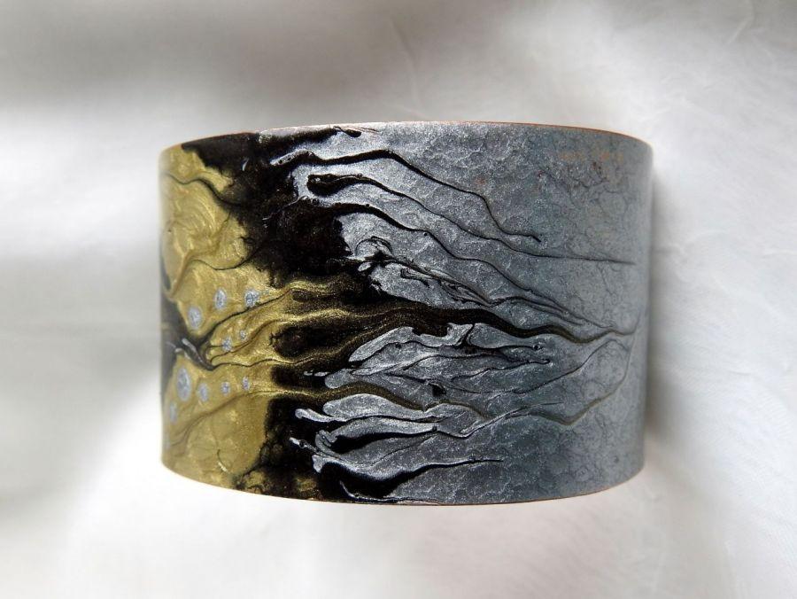 Bransoletka miedziana złoto i srebro -