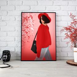 Plakat dziewczyna w kapeluszu