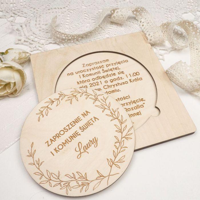 Zaproszenie na komunię - drewno II - zaproszenia, zaproszenie, zaproszenia dla dzieci, zaproszenia na chrzest