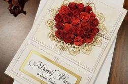 Kartka ślubna z różyczkami