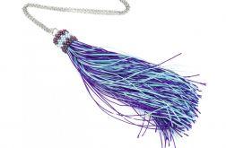 Długi naszyjnik z chwostem fiolet i błękit