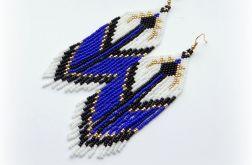 Boho kolczyki indiańskie niebiesko białe