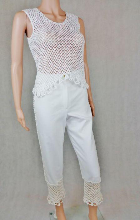 Spodnie białe  z wstawkami - Spodnie z koronkami