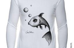 Ryba - długi rękaw męska - biała