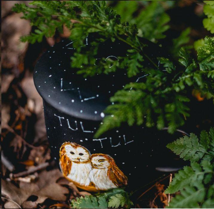 Kubek artystyczny z zaparzaczem - zakochane sowy