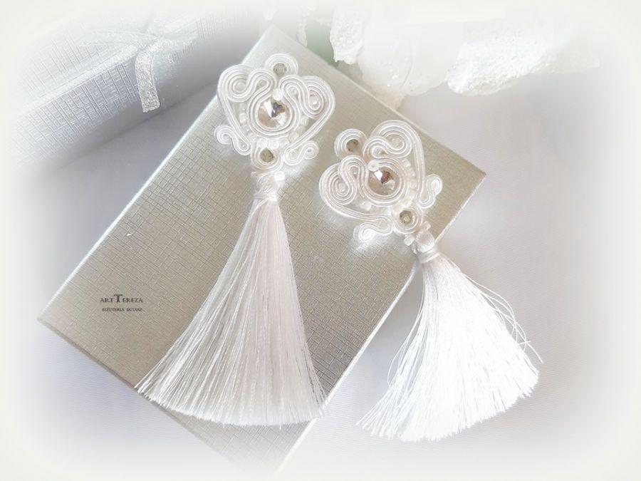 kolczyki ślubne z chwostami i kryształami sw.