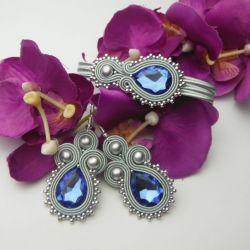 Biżuteria soutache sutasz komplet siwy szafir