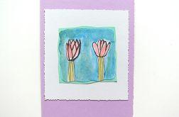 Kartka kwiatki malowane  nr 14