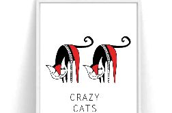 Plakat Crazy Cats A3