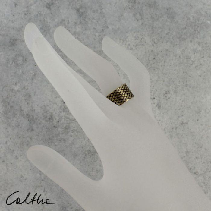 Rybia łuska - mosiężna obrączka 130620-09 - Mosiężny pierścionek