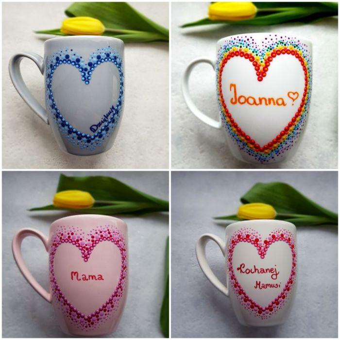 Ręcznie zdobiony różowy kubek na Dzień Matki - Przykładowe realizacje