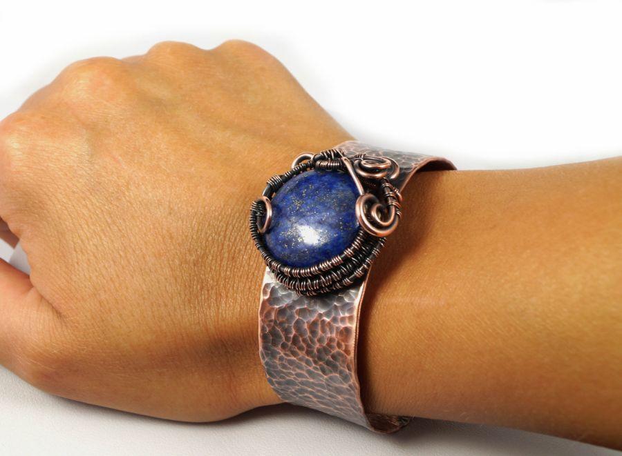 Lapis, Miedziana bransoletka z lapis lazuli  - regulowana bransoletka z lapis lazuli