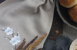 Worek lniany na chleb Kwiat Śliwy