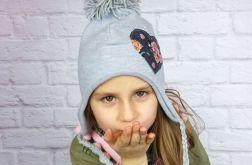 Zimowa czapka pilotka z chustą; serduszko