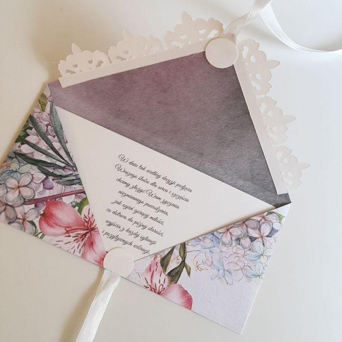 Kartka ślubna kopertówka - gołąbki 1 - życzenia