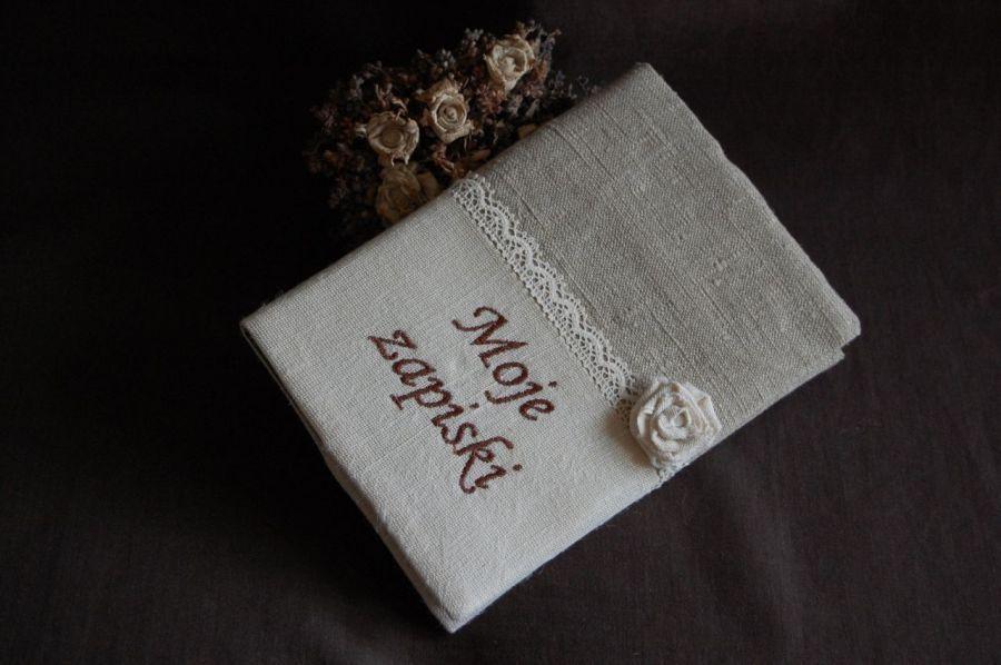 Rustykalny notes z różyczką