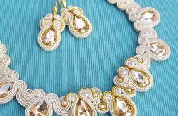 Kremowo Złote Kryształki naszyjnik