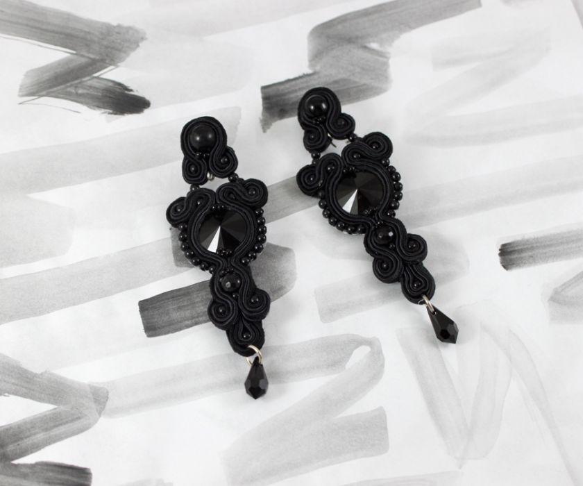 """Kolczyki """"BLACK ORCHIDS"""" z sutaszu"""