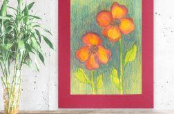 Rysunek kwiaty na bordowym tle nr 10 obrazek