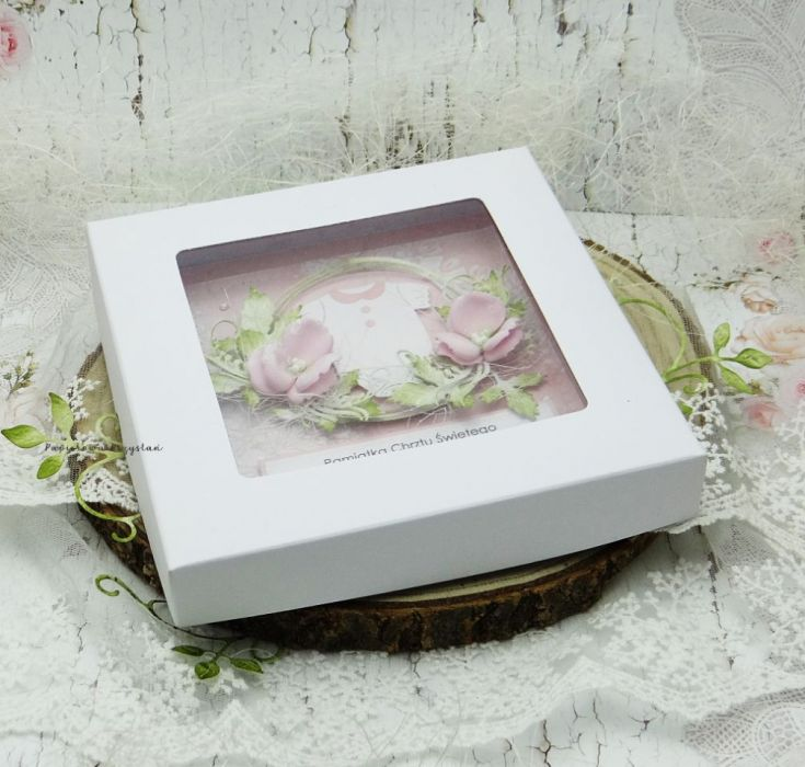 Pamiątka chrztu św. dla dziewczynki PCH 8 - kartka na chrzest w pudełku