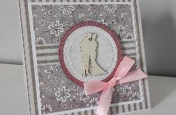 Kartka na ślub z różową kokardką